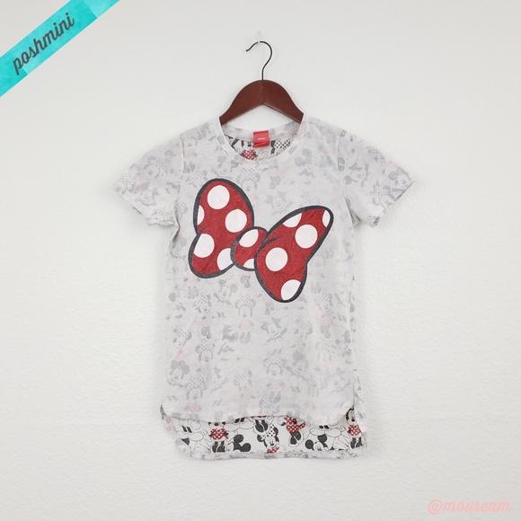 New Disney Girls Minnie Mouse Glitter Bow Tee Shirt